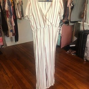 Other - Cream Striped Jumpsuit